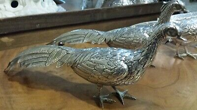 175g EXQUISITE MASTERPIECE STERLING SILVER SET 2 ROYAL PHEASANTS SYMBOLIC LOVE