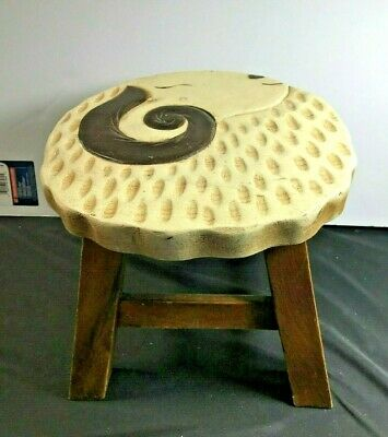 Vintage Mid Century Wood Stool w/Ram Top Design Handcrafted