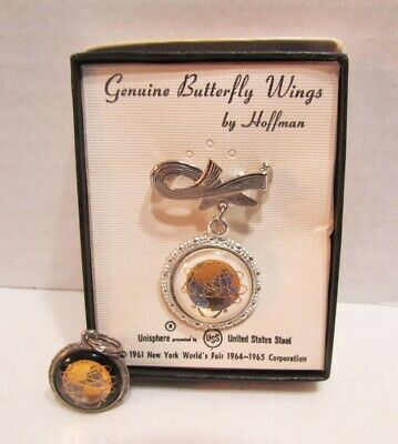 Nywf 1964-1965 New York World's Fair Unisphere Butterfly Wings Pin Brooch +Charm