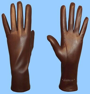 NEW WOMENS size 6.5 or Small GENUINE BROWN KID LEATHER CASHMERE LINED GLOVES