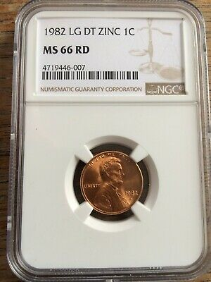 Coin US 1982 LG DT Zinc 1 Cent Lincoln Memorial NGC-MS 66 Red-Great Coin