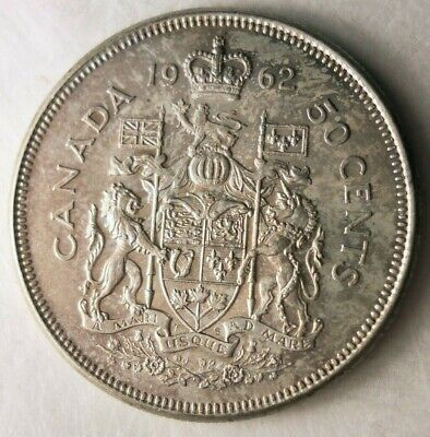 1962 CANADA 50 CENTS - TONED Awesome Silver Coin - Lot #324