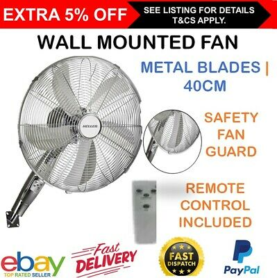 Wall Mounted Fan Cooler with Remote Control Oscillating Timer Chrome 40cm Heller