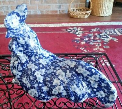 "Large Blue White Calico Floral 12"" Sitting Chicken Hen Rooster China Pottery"