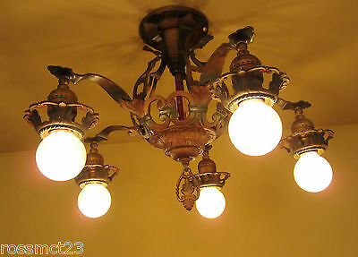 Vintage Lighting 1920s Spanish Revival set   NINE ceiling lights   PAIR sconces