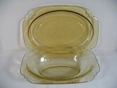 """~ Amber Madrid ~  11 1/2"""" Platter &  10"""" Serving Bowl   by Federal Glass Company"""