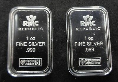 Lot of 2 - 1 Troy ounce Republic Metals Silver Bars in Air-tites -  .999 Fine
