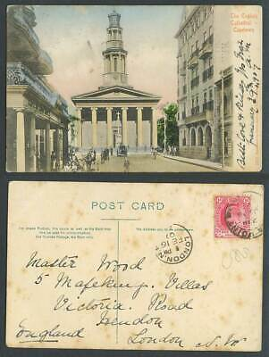 South Africa 1d 1907 Old Hand Tinted Postcard English Cathedral Cape Town Street