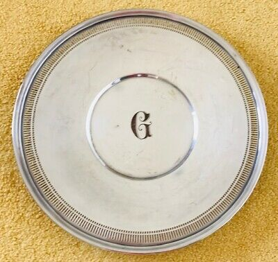 "Wallace Sterling silver serving plate 10""  initial G"