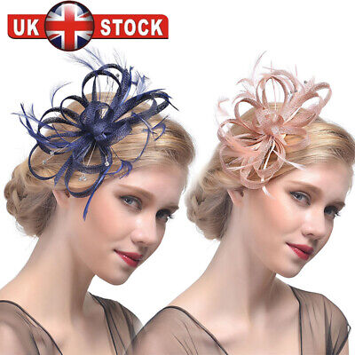 Ladies Womens Elegant Sinamay Flower Feather Headband Fascinator Hair Band Y