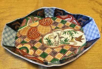 "Antique Chinese / Japanese 7"" Oval Imari Painted Bowl Dish w Scene & Footed Rim"