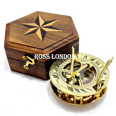 ROSS LONDON Brass SUNDIAL Compass Nautical Marine WEST London Vintage 2.5 Inch
