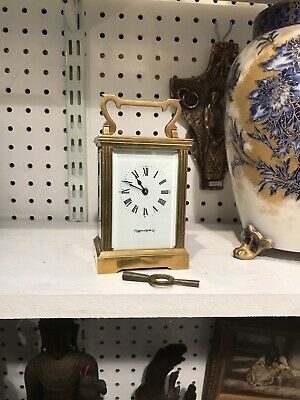 Antique Style French Bronze Brass Mantle Carriage Clock With Key Mappin & Webb