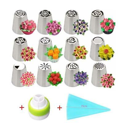 14Pcs Russian Tulip Icing Piping Nozzles Stainless Steel Flower Cream Decorating