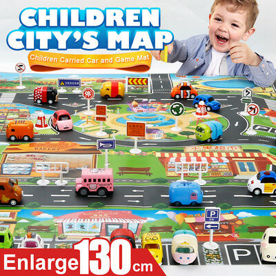 Kids Children Rugs Town Road Map City Cars Toy Rug Play Village 130x100cm Mat AU