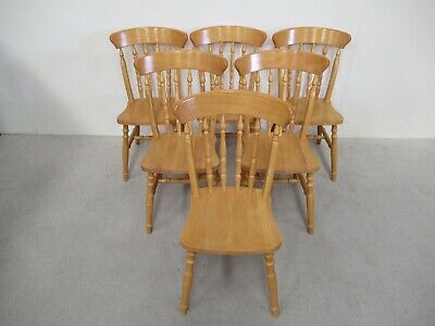 Set Of 6 Pine Kitchen Chairs Farmhouse Chairs