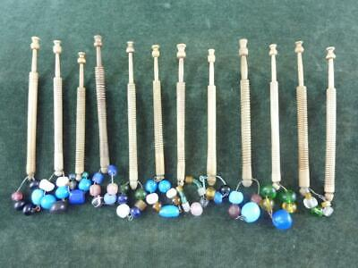 12 nice Vintage wooden turned Lace bobbins 11 with spangles #4