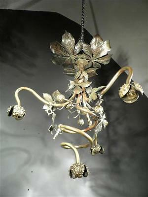 "1900-10 France Lustre ""marronniers"" En Bronze Doré Et Patiné Art Nouveau"