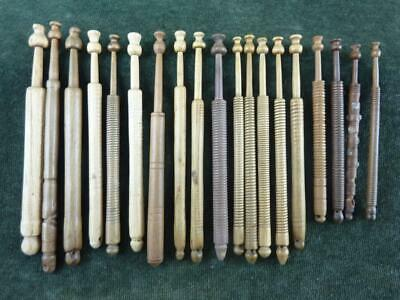 19 nice Vintage Mixed wooden turned Lace bobbins #1