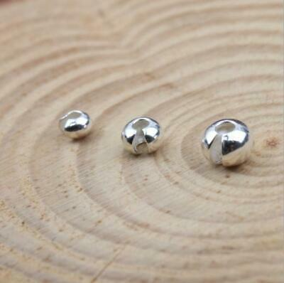 10 x 925 sterling silver Crimp Bead Covers Jewelry Findings 3.5mm 4.5mm 5.5mm