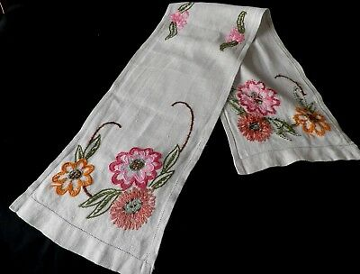"1940's HAND EMBROIDERED TABLE RUNNER 50"" by 10"""