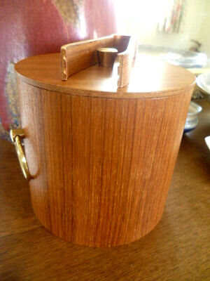 Vintage 1960/70/80s AFB Teak Ice Bucket With Original Molded Ply Ice Tongs VGC+