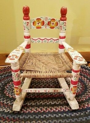 Small Vintage Looking Child Or Doll Painted Wood & Cane Rocking Chair ~ Kid's