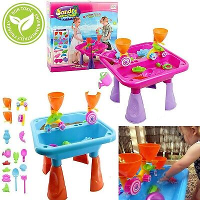 Sand and Water Table Garden Sandpit Play Set Toy Watering Can with Accessories