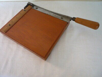 """Vintage Wooden Paper Guillotine Trimmer 8.5""""x7"""" Base The G P Cutter"""