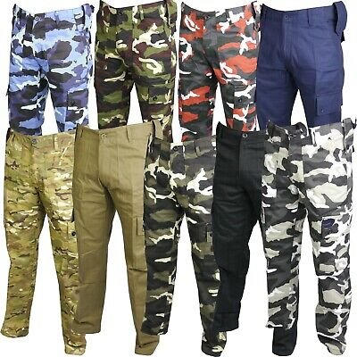 Mens Combat Trousers Tactical Work Wear Cargo Pockets Outdoor Army Security