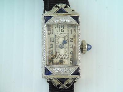 Antique Art Deco Solid Platinum & 18K White Gold Diamond & Blue Sapphire Watch