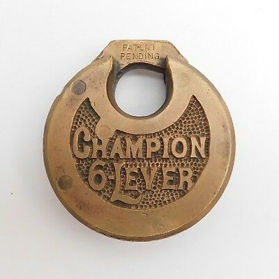 Vintage Antique CHAMPION 6 LEVER Pancake Lock Padlock NO KEY Brass Bronze