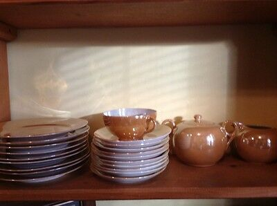 28 pc Japan marigold lustre luncheon set with creamer and sugar