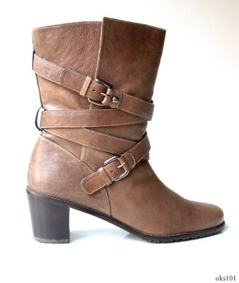 8f80900ee72 new  535 STUART WEITZMAN  Dallas  olive taupe leather block heel ANKLE BOOTS  10