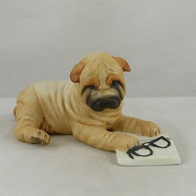Franklin Mint Porcelain Shar-Pei Dog w Reading Glasses & Book©1987