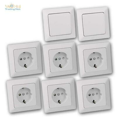 Milos Flush-Mounted In-Wall Starter-Kit 8 Set Switch Sockets with Frame,