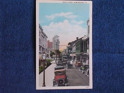 New Orleans LA/Royal Street/1920s Cars-Trucks-Trolley/Printed Color Photo PC