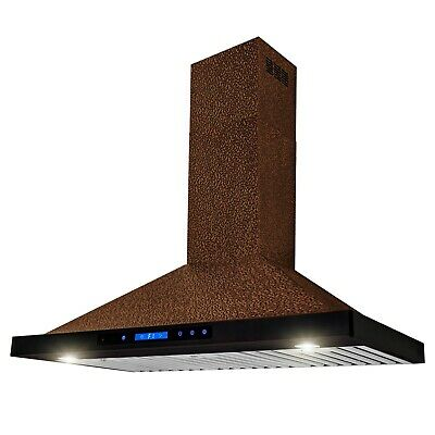 "36"" Wall Mount Kitchen Range Hood Embossed Copper"