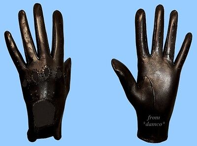 NEW WOMENS size 6.5 BLACK GENUINE LAMBSKIN - KID LEATHER DRIVING GLOVES