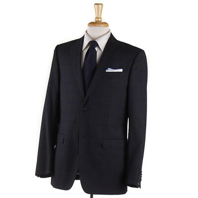 NWT $1595 Z ZEGNA 'Drop 7' Navy Blue and Gray Check Wool Suit 38 R (Eu 48)