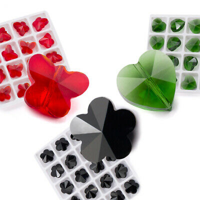 10pcs 14mm Butterfly/Heart/Flower Faceted Crystal Glass Loose Beads DIY Jewelry
