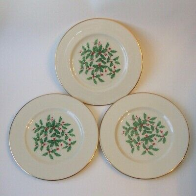 3 Lenox Holiday Special Presidential Salad Plates Holly Berry