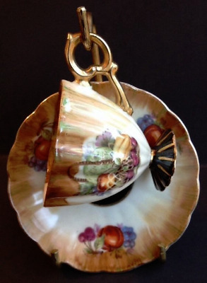 Hand Painted Vtg Wales Japan Tea Cup Saucer With Brass Stand