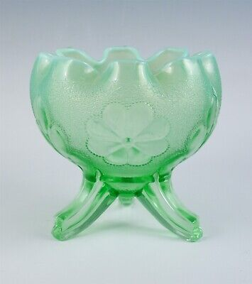Vintage Northwood Daisy & Plume Carnival Glass Green Opalescent Footed Rose Bowl