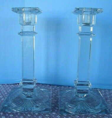 "Antique Lead Crystal Deco Candle  holders 8"" nice"