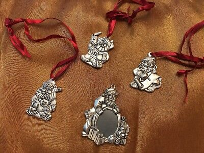 Gorham 4 Pc Santa Christmas Ornament Set Silver Plate