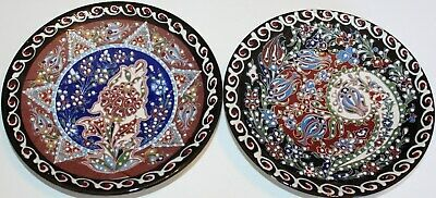 "Turkish 7"" (18cm) Handmade Iznik Raised Floral Pattern Ceramic Plate SET of 2"