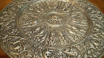 1275g MUSEUM XIXC TRAY CENTER HEAVY CARVING ALLEGORIC BIRDS SCENES 916 SILVER