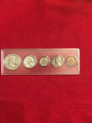 1959 Year 5 Coin Set.  Includes 3 90% Silver Coins.  Circulated Coins Ys 120