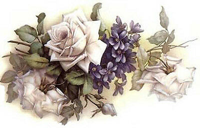 BReaThTaKinG!! VinTaGe IMaGe WHiTe RoSeS & VioLeTs SHaBbY WaTerSLiDe DeCALs